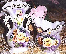 Fluted Fine Porcelain Vcagco of Japan Vase Set