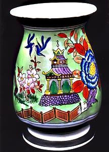 Hand Painted Gold Castle Porcelain China Footed Vase