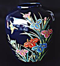 Hand Painted Raised Multi-Colored China Vase