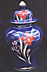 Lovely Hand Painted Iris Floral Fine China Vase