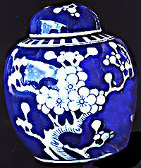 Hand Painted Cobalt Blue China Porcelain Vase