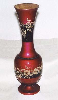 Unique Hand Painted Teakwood Vase