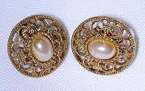 Faux Pearl and Gold Earrings