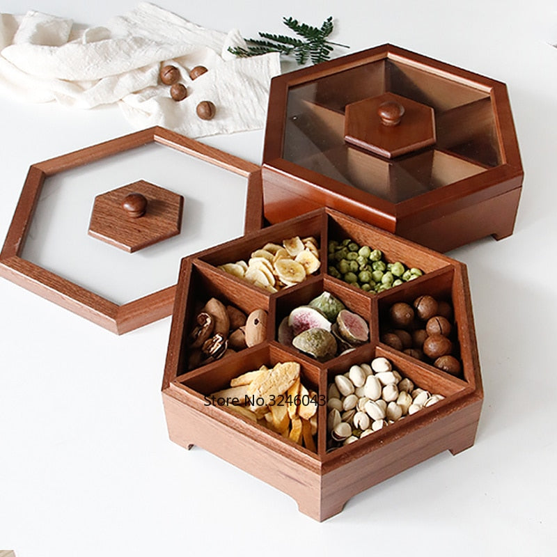 European creative solid wood candy box with lid dry fruit snack box home wooden nuts melon storage box wedding gift