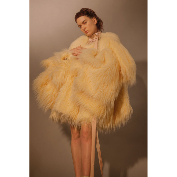 Adeline Faux Fur Coat - Cream - Made To Order - One Size