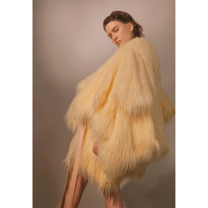 Adeline Faux Fur Coat - Cream - Made To Order