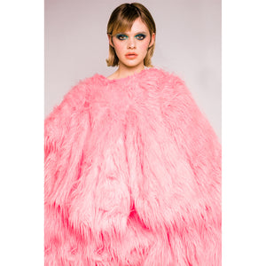 Adeline Faux Fur Coat - Candy Pink - Made To Order