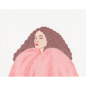 Henrietta O'Connor Adeline Faux Fur Coat Candy Pink Illustration