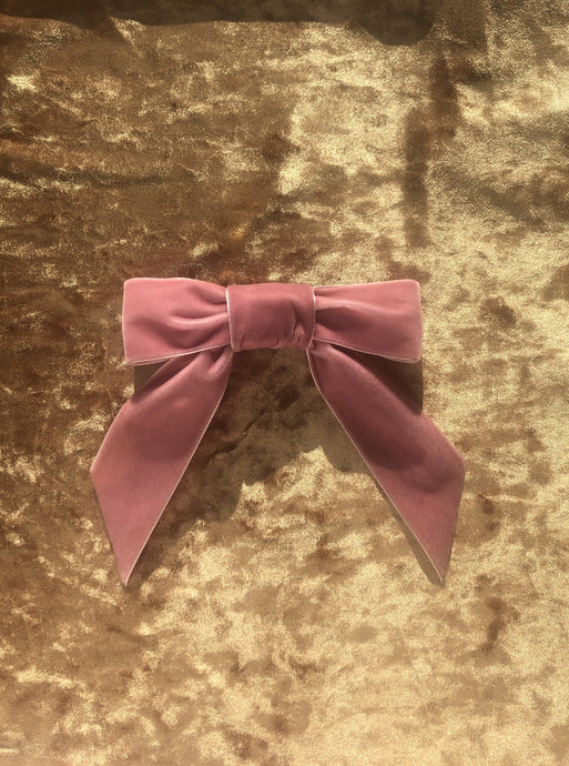 No Wallflower Project Eva Bow Large Velvet Hair Barrette in Baby Pink