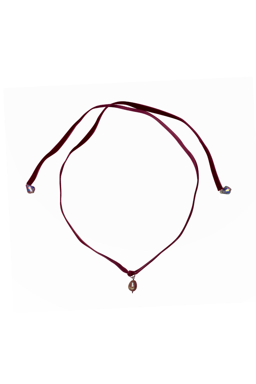 No Wallflower Project Velvet Necklace Choker Freshwater Baroque Real Pearl Burgundy Wine Red