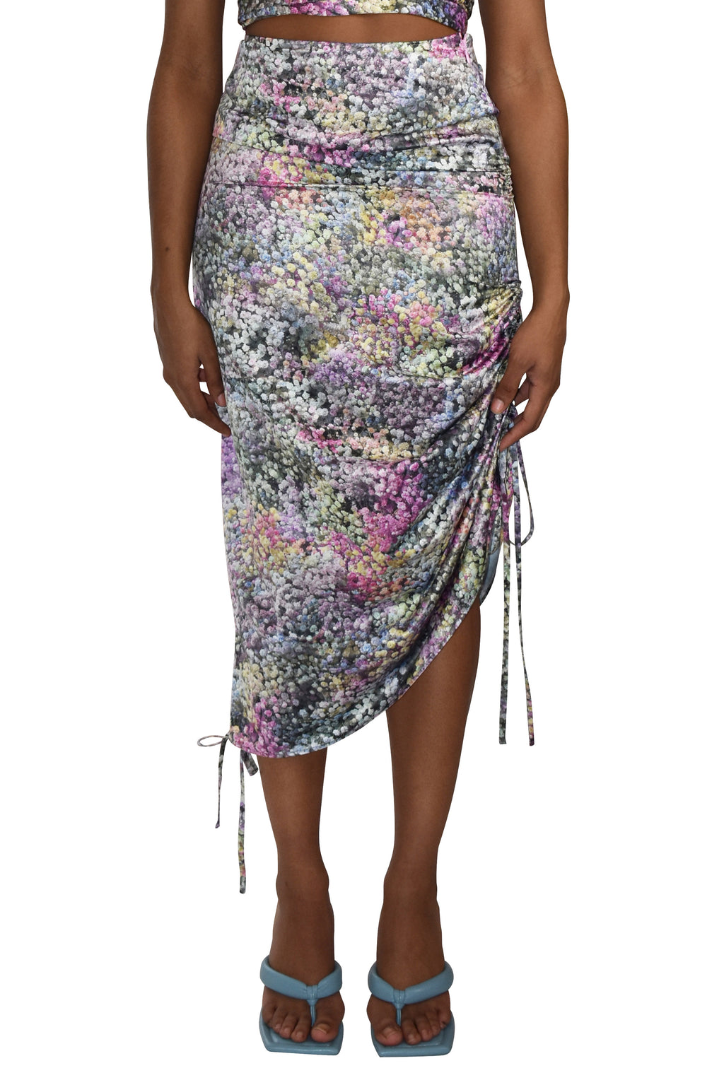 No Wallflower Project Satin Convertible Ripple Midi Skirt Rainbow Gypsophila
