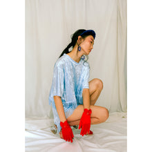 Load image into Gallery viewer, No Wallflower Project Baby Blue Velvet Lulu Fringed Crop T-Shirt