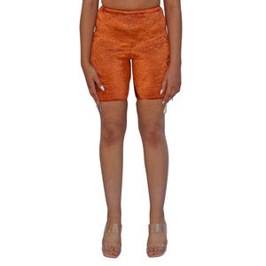 No Wallflower Project Riding Shorts in Burnt Orange Velvet