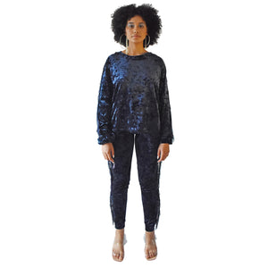 No Wallflower Project Georgia Fringed Sweatshirt in Midnight Blue Velvet
