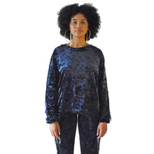 Load image into Gallery viewer, No Wallflower Project Georgia Fringed Sweatshirt in Midnight Blue Velvet