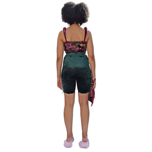 No Wallflower Project Riding Shorts in Forest Green Velvet