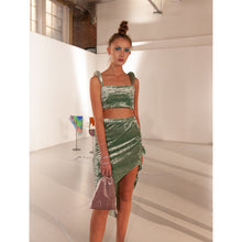 Load image into Gallery viewer, No Wallflower Project Keke Panelled Asymmetric Skirt in Sage