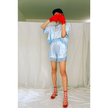 Load image into Gallery viewer, No Wallflower Project Baby Blue Velvet Lulu Fringed Shorts