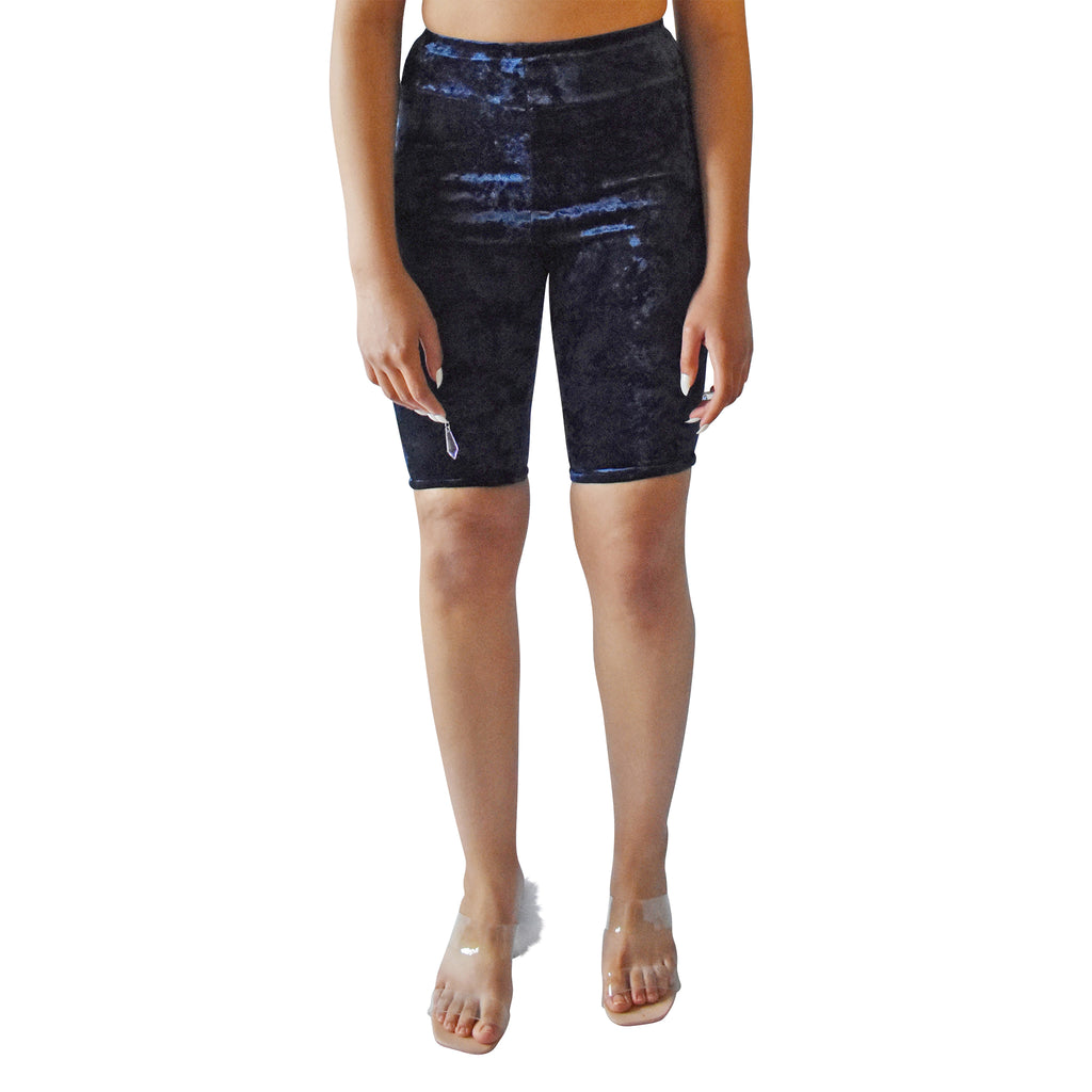 No Wallflower Project Riding Shorts in Midnight Blue Velvet