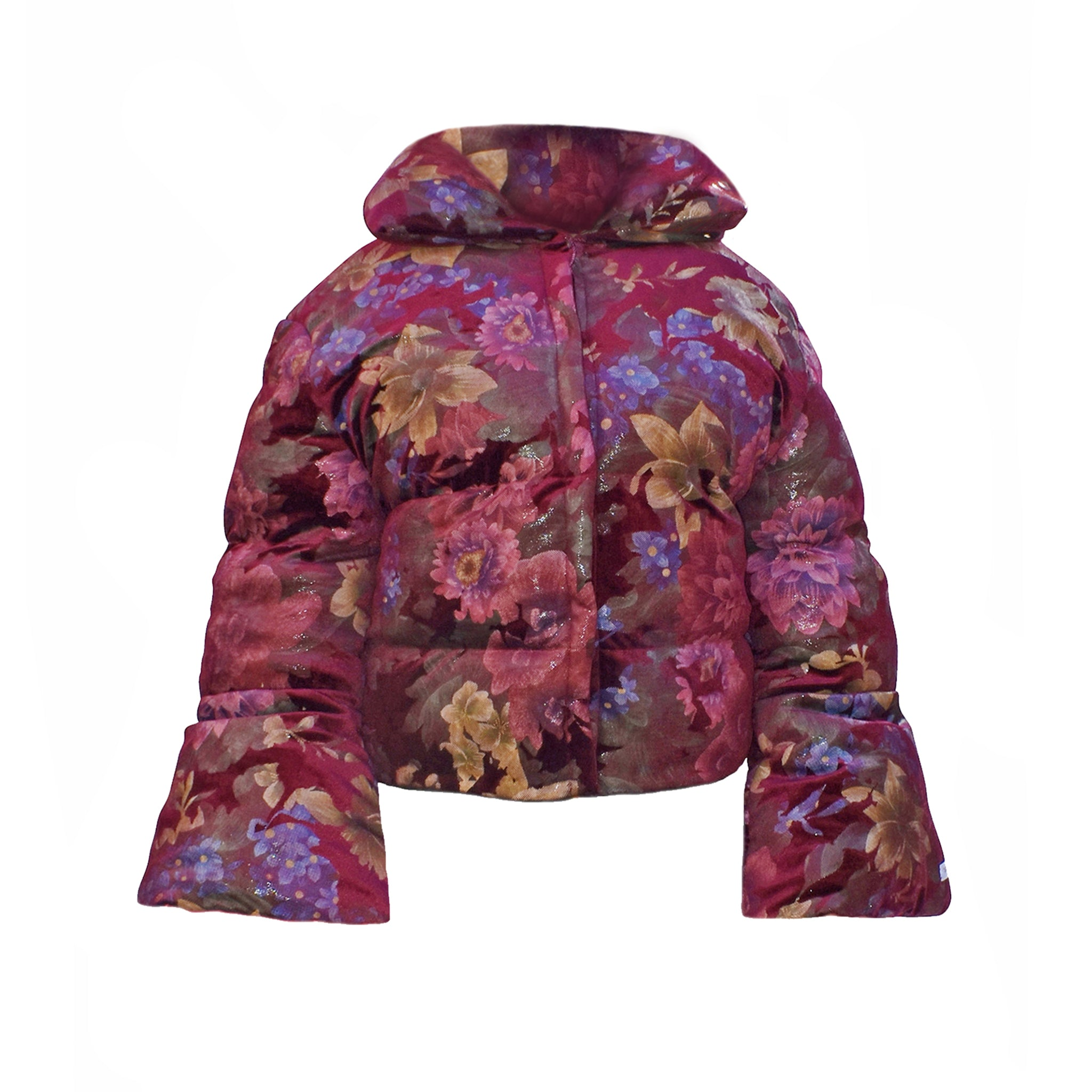 No Wallflower Project Opera Oversized Puffer in Wine Floral velvet