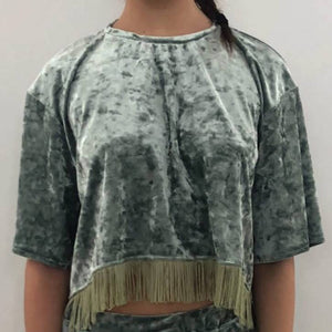 No Wallflower Project Sage Green Velvet Lulu Fringed Crop T-Shirt