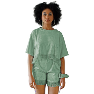 No Wallflower Project Sage Green Velvet Lulu Fringed Shorts