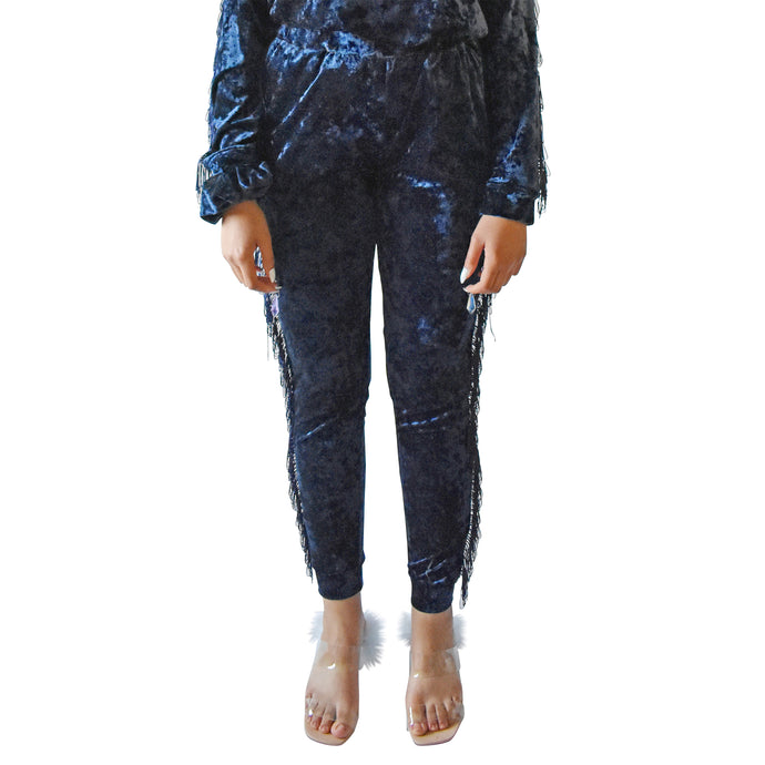 No Wallflower Project Georgia Fringed Joggers in Midnight Blue Velvet