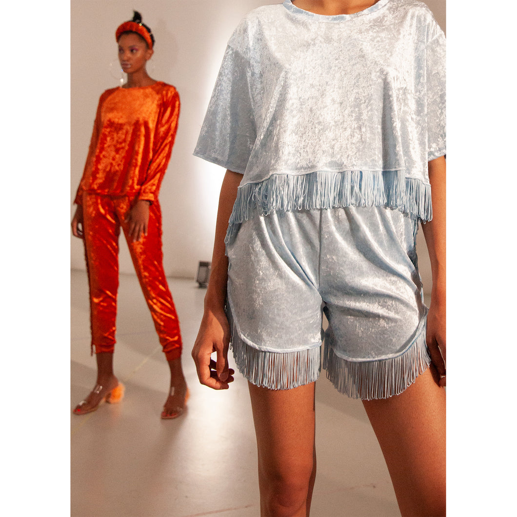 No Wallflower Project Baby Blue Velvet Lulu Fringed Shorts