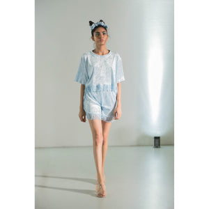 No Wallflower Project Baby Blue Velvet Lulu Fringed Crop T-Shirt