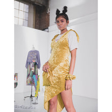 Load image into Gallery viewer, Evelyn Diagonal Panelled Asymmetric Dress - Chartreuse - Made To Order
