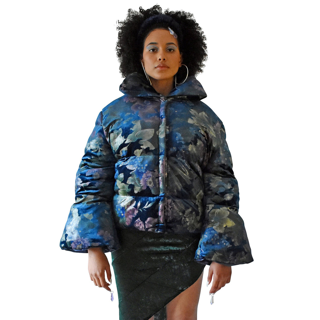 No Wallflower Project Opera Oversized Puffer Jacket in Teal Floral