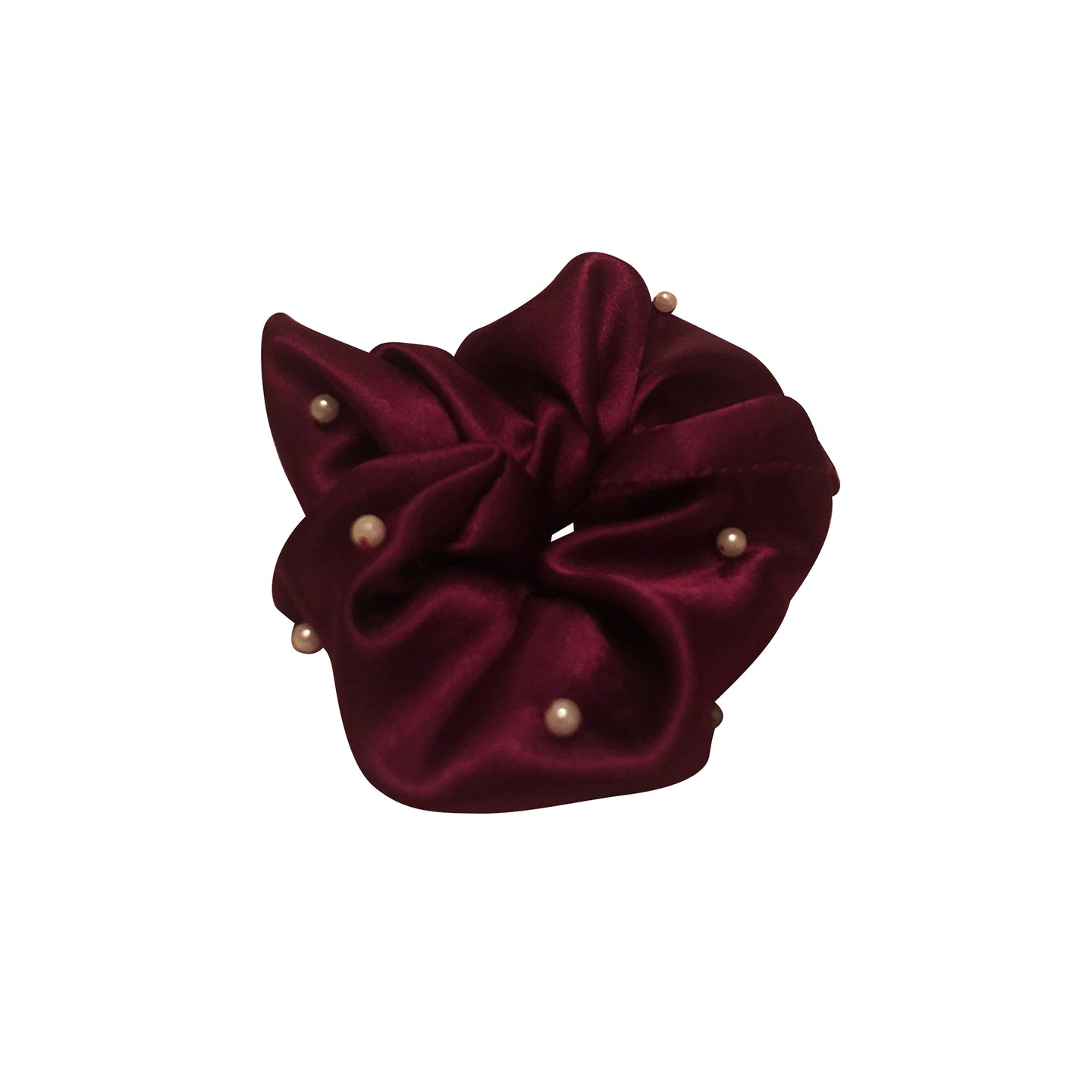 No Wallflower Project Pearly Satin Scrunchy Wine