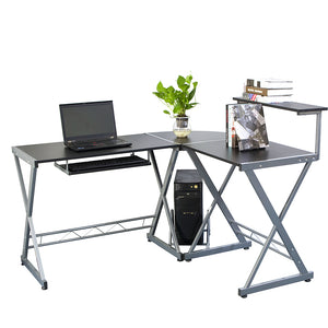 L-shaped Wooden Computer Desk with Top Shelf-Office Desk-Gray