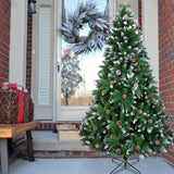 Christmas Tree (6FT 920)(7FT 1350)Branches Flocking Spray White Tree Plus Pine Cone (YJ)