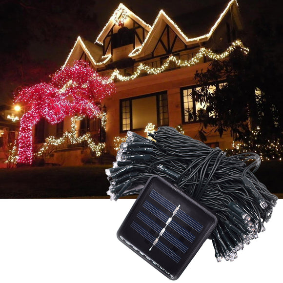 Yellow Light Solar String Lamp Festival Deco 36ft 100 LED