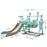 Swing Slide Set Combination -Swing Slide Basketball Hoop 3in1-Indoor Backyard Slide Swing Playground