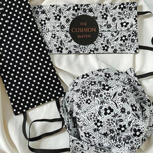 "Load image into Gallery viewer, Reversible & Reusable Cotton Face Mask, ""Black & White Flower Spot"" Face Mask -"