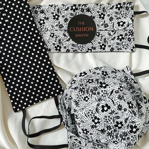 "Reversible & Reusable Cotton Face Mask, ""Black & White Flower Spot"" Face Mask -"