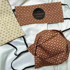 "Reversible & Reusable Cotton Face Mask, ""Cappuccino"""