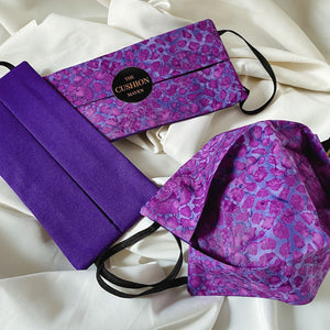 "Reversible & Reusable Batik Face Mask, ""Purple Rain"" Face Mask -"