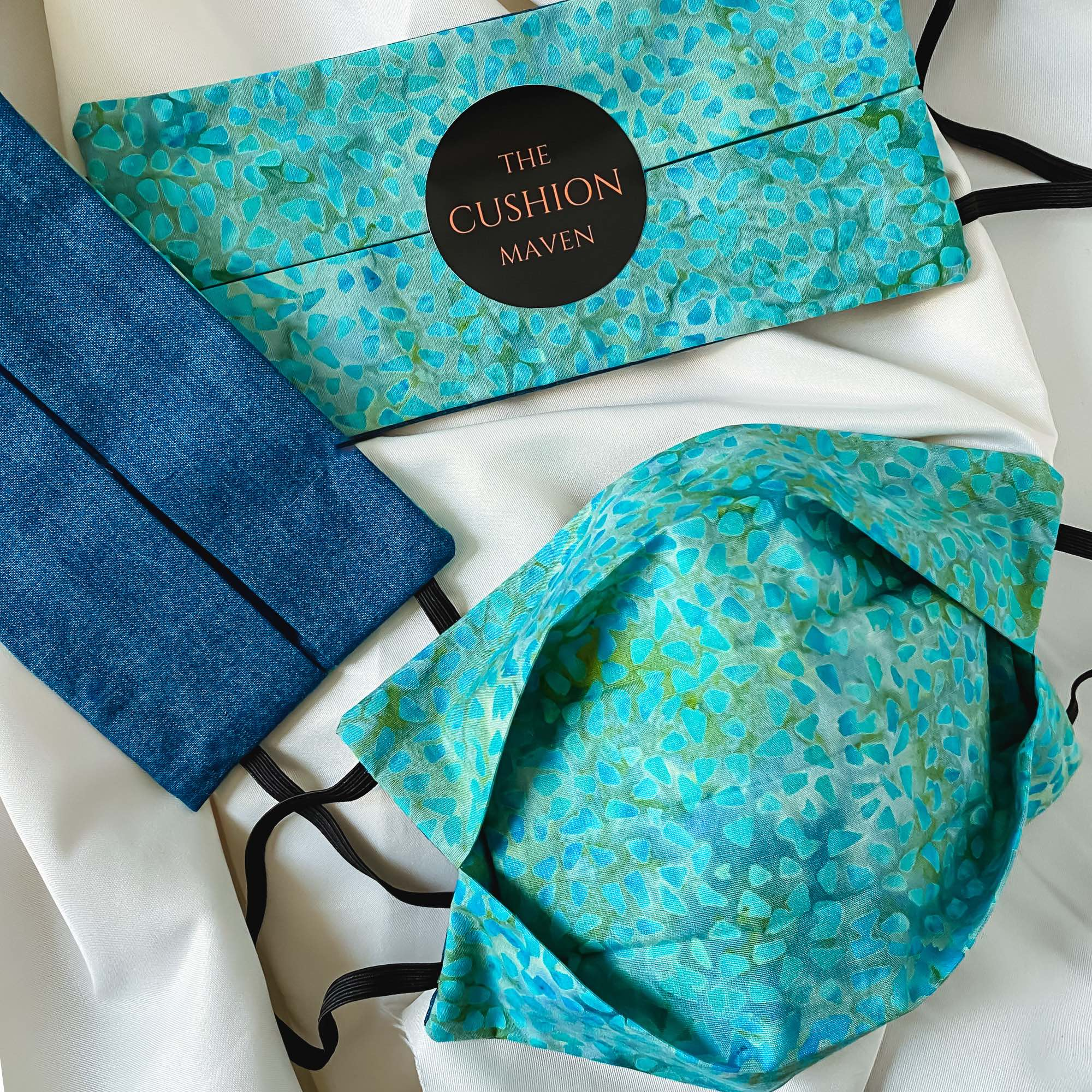 "Reversible & Reusable Batik Face Mask, ""Teal Tale"" Face Mask -"