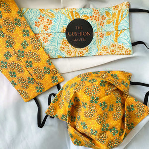 "Reversible & Reusable V&A Cotton Face Mask, ""Tangerine Dreams"" Face Mask with filter pocket"