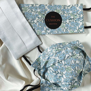 "Reversible & Reusable Liberty of London Cotton & Mulberry Silk Face Mask, ""Forget Me Not"" Face Mask with filter pocket"