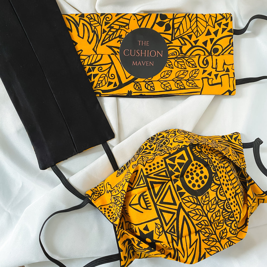 Reversible & Reusable African Hand-dyed Cotton & Mulberry Silk Face Mask,