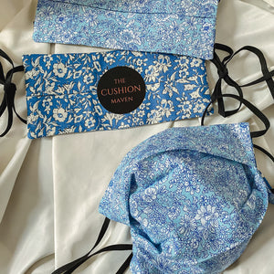 "Reversible & Reusable Liberty of London Adjustable Cotton Face Mask, ""True Blue"""