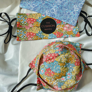 "Reversible & Reusable Liberty of London Adjustable Cotton Face Mask, ""Sherbet Blue"""