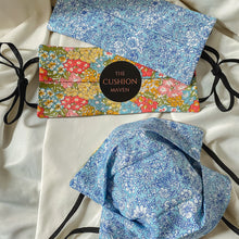 "Load image into Gallery viewer, Reversible & Reusable Liberty of London Adjustable Cotton Face Mask, ""Sherbet Blue"""