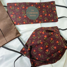 "Load image into Gallery viewer, Reversible & Reusable Cotton & Mulberry Silk Face Mask, ""Chocolate Plum"""
