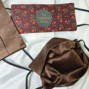 "Reversible & Reusable Cotton & Mulberry Silk Face Mask, ""Chocolate Plum"""