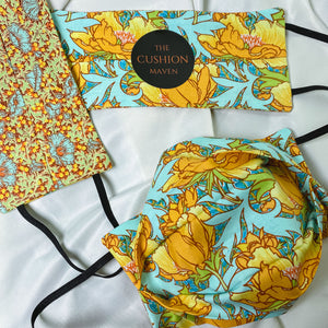 "Reversible & Reusable V&A Cotton Face Mask, ""Turmeric Teal"""